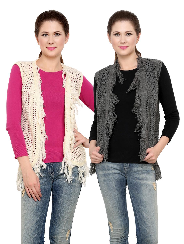 Renka winter Shrug for Women - pack of 2-SH7_grey_offwht