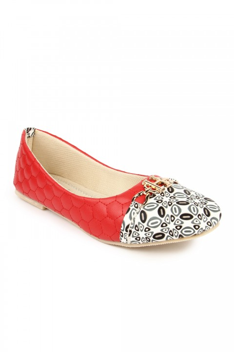 Cute Feet Red Printed Bellie For Girls