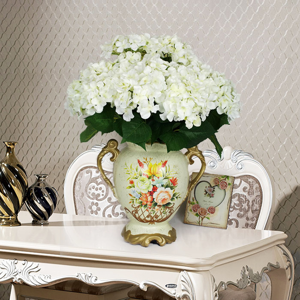 Artificial Silk Flower Hydrangea Bouquet Wedding Home Decoration White