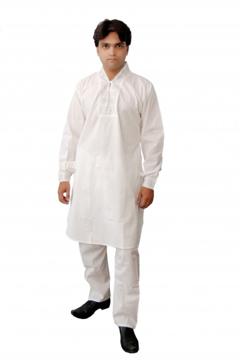 Arzaan Creation Pure Cotton White Coller Sleeves Work Pathani Suit
