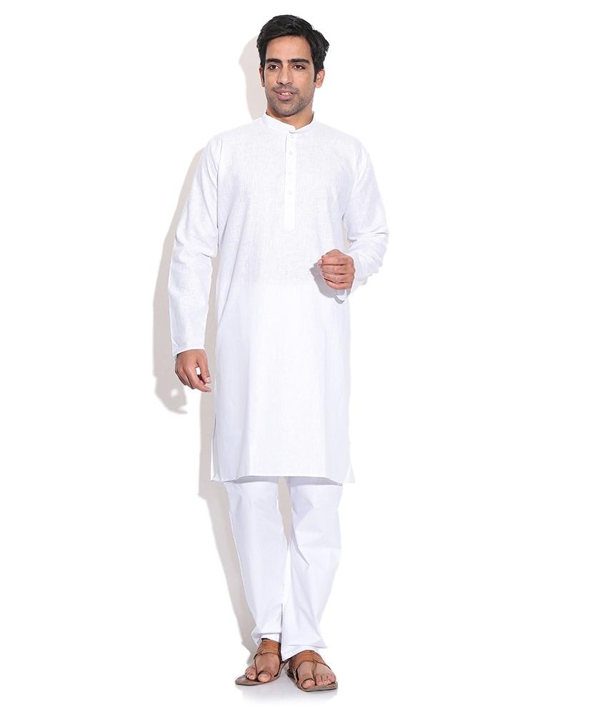 Prime Club Men Cotton White Kurta Pajama Set