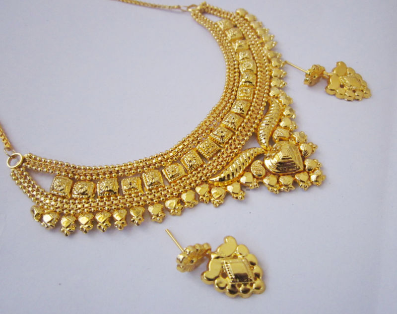 Online One Gram Gold Plated Beautiful Necklace Earrings Jewellery Set Prices