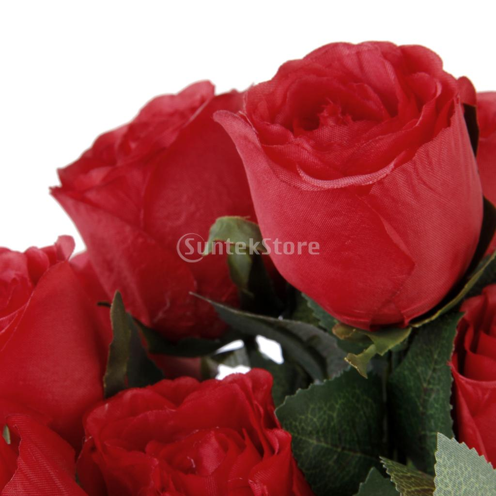 Buy 1 bunch fake rose artificial flower plant with 11 for Artificial flowers for home decoration india