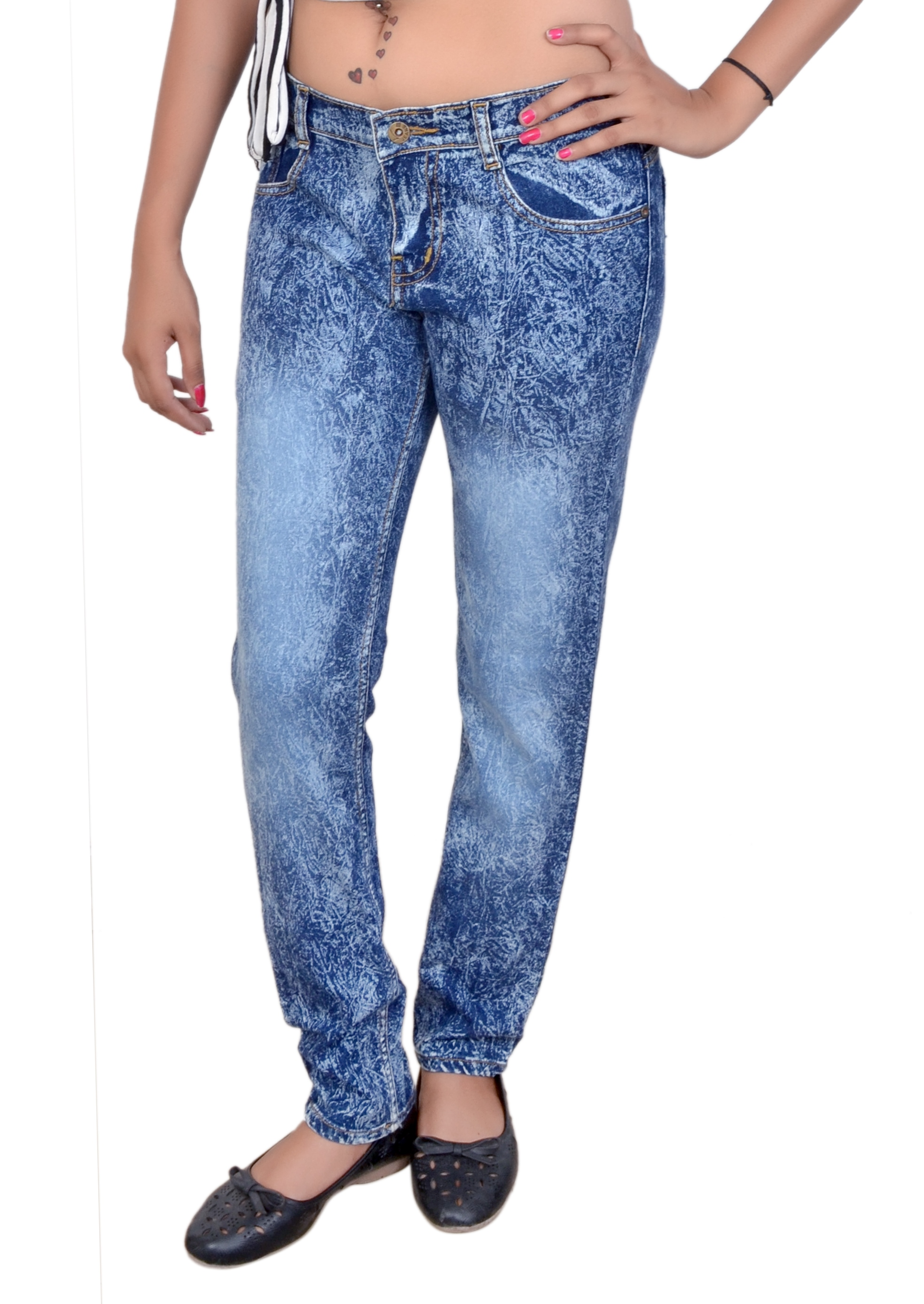 Modo Delicate Indigo Cotton Slim Fit Fashion Jeans