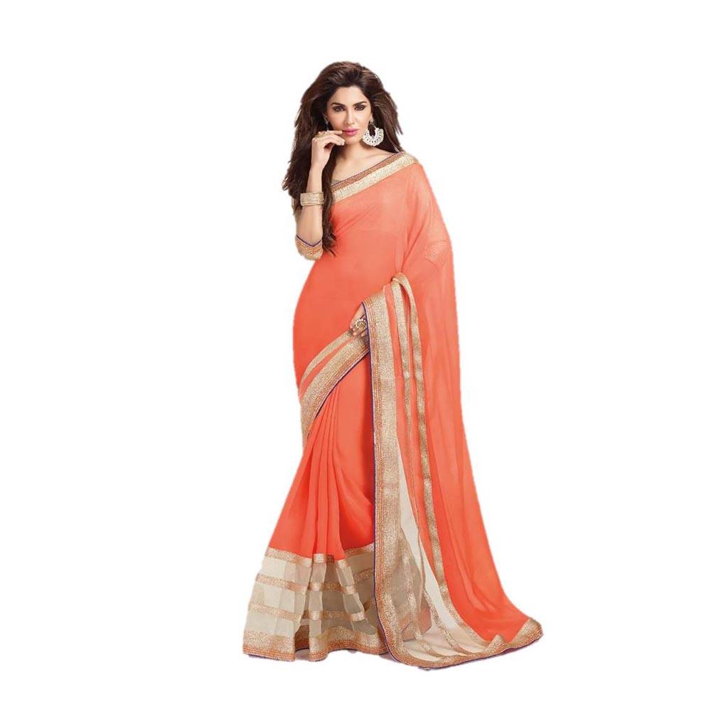 bhuwal fashion designer lace border work faux georgette orange color saree-243