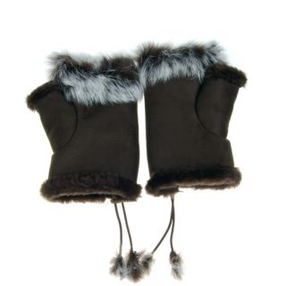 Rabbit Fur Girls Hand Wrist Warmer Fingerless Gloves - Dark Coffee