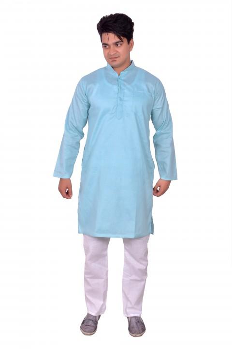 Arzaan Creations C Green Festive Kurta with White Payjama Set