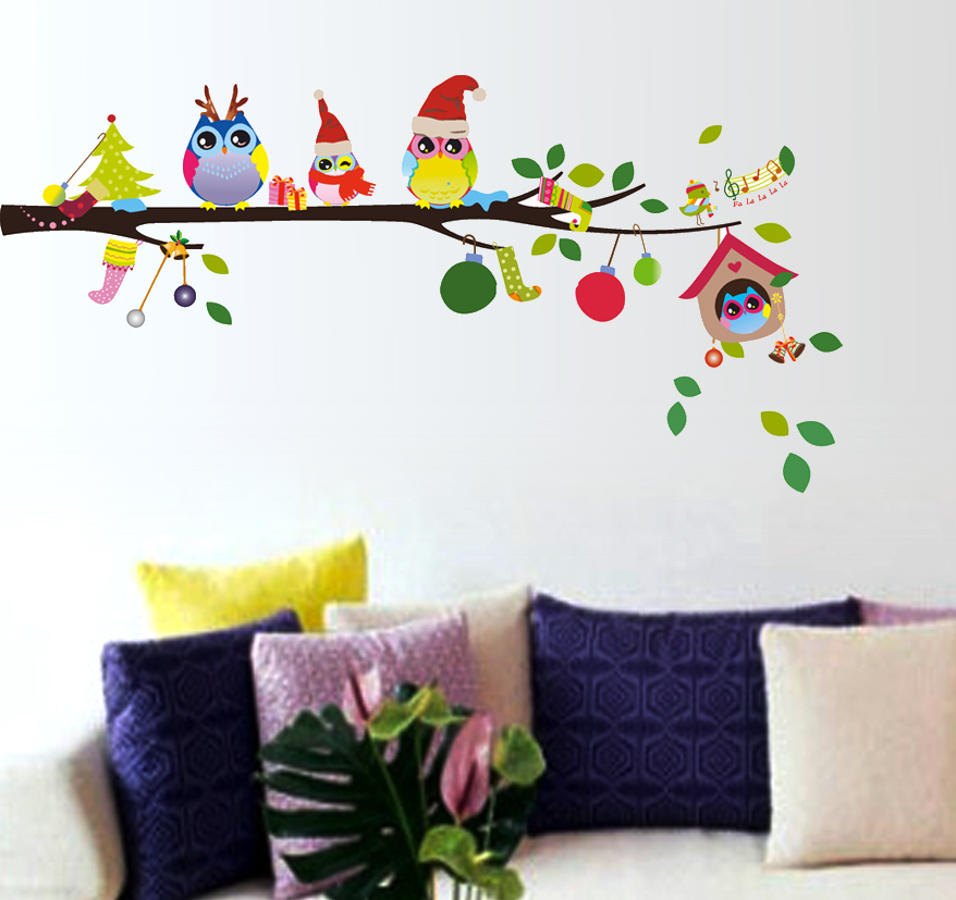 Buy Wall Stickers Wall Decals Merry Christmas Winter Owls