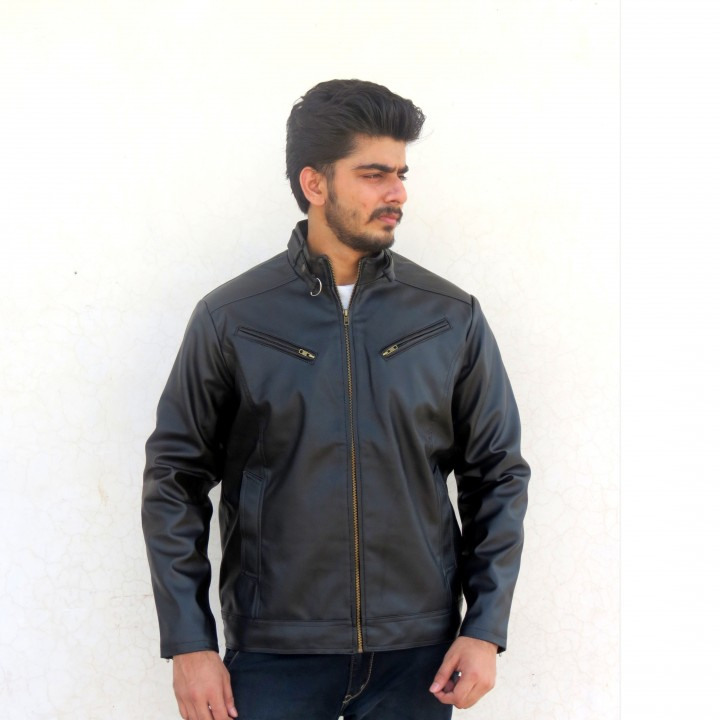 2e8b344c315 stylish biker pu leather jacket for men available at ShopClues for Rs.999