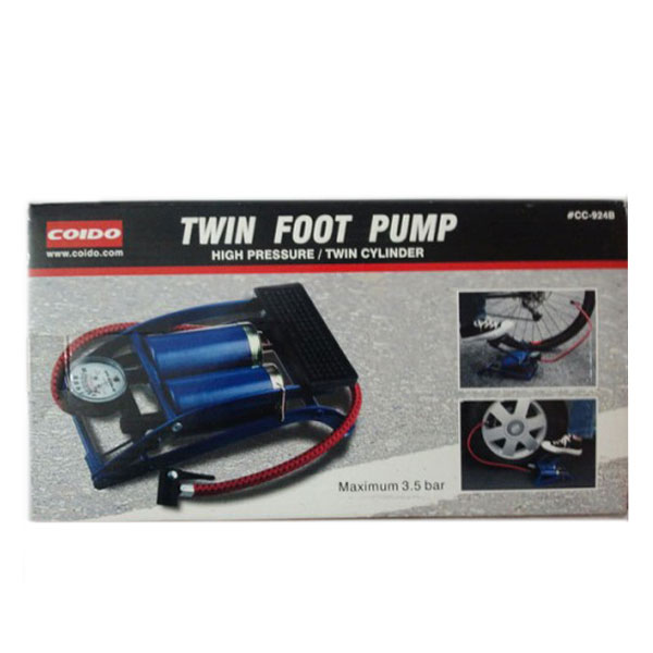 Coido Twin Cylinders Foot Tyre / Ball Inflator Pump Compressor