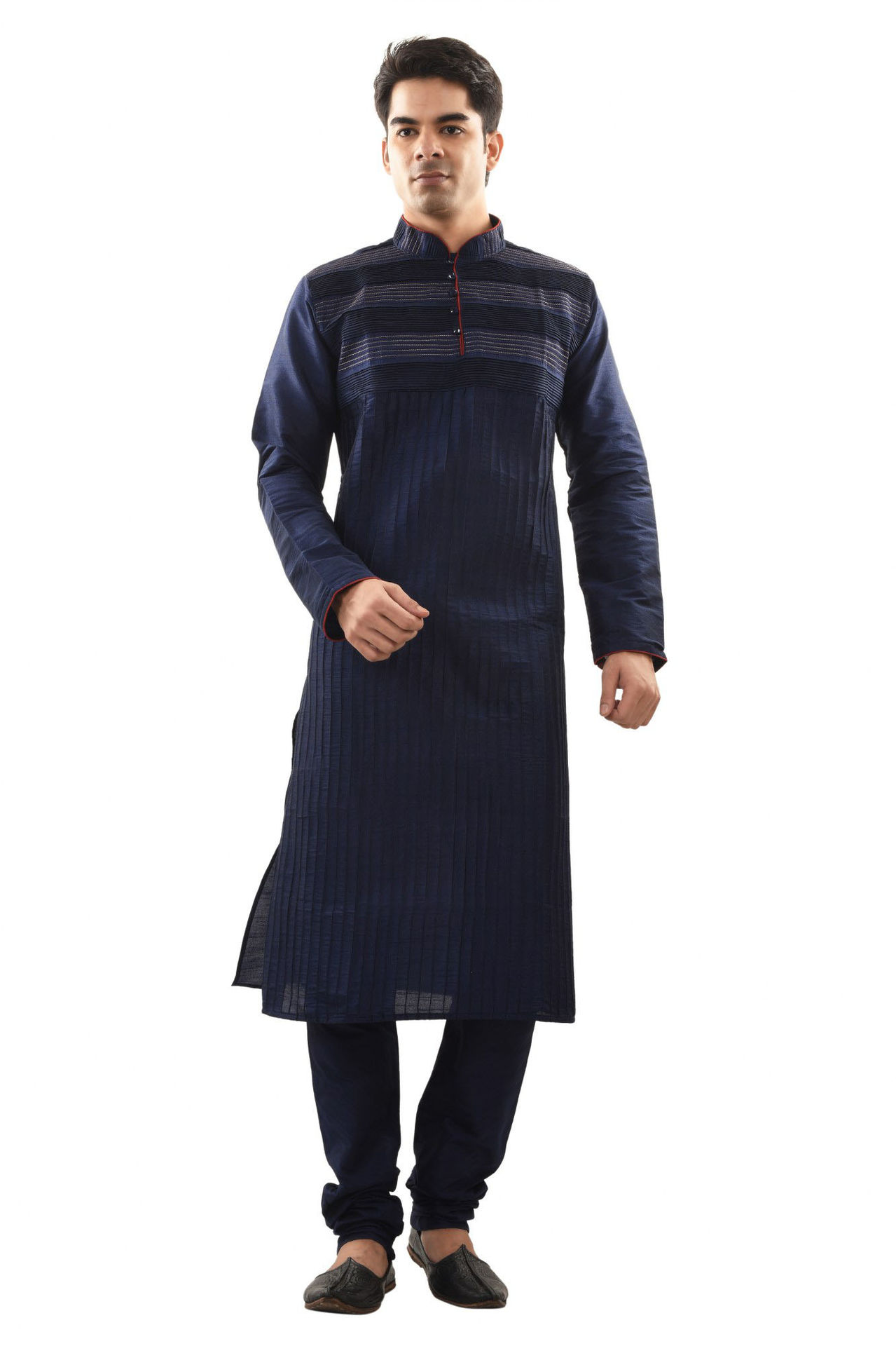 Sanwara Mens Ethnic Cord Pinteck Blue Kurta Churidar Set