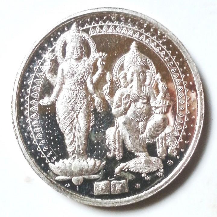 Veenaai 50 Grams Silver Coin Laxmi Ganesh Purity 999