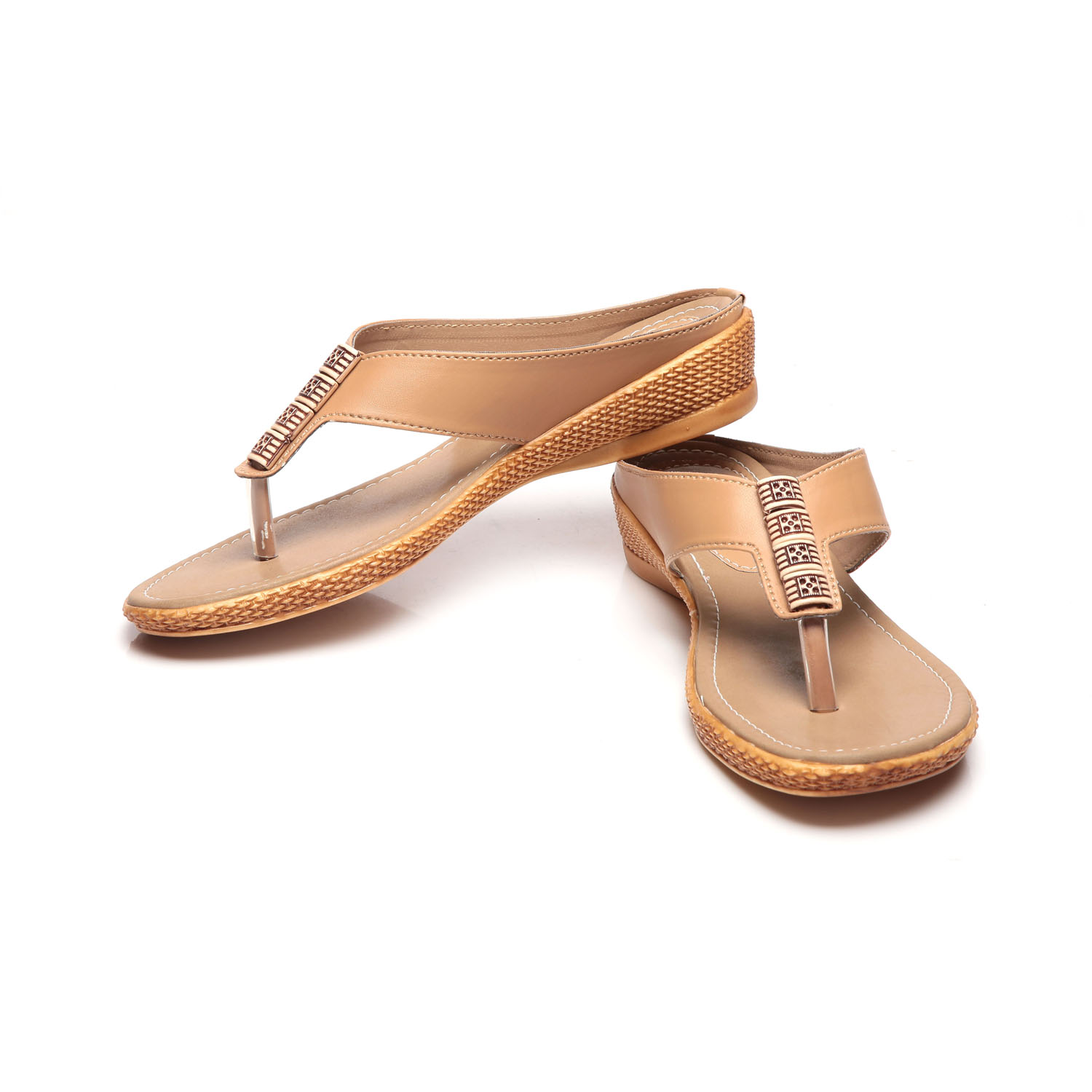 Synthetic Leather ABR Beige Flats