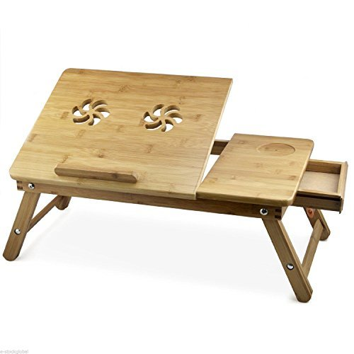 multipurpose laptop table bed tray foldable wooden and ventilated for