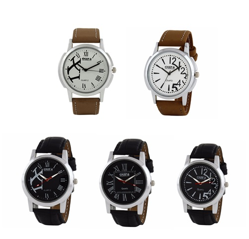 Oura Round Dial Casual Wear Watch For Men Pack of 5 pcs