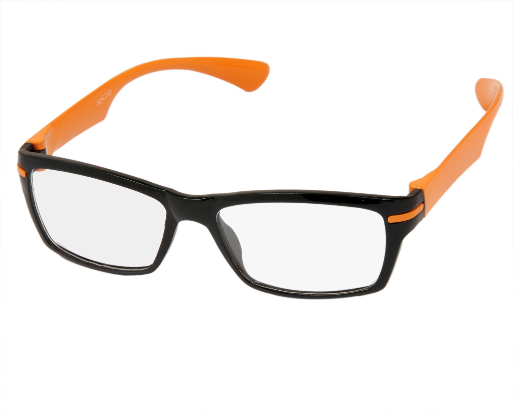Eyeglasses Frame Temples : Aoito Black Front Orange Temples Spectacles Frames ...