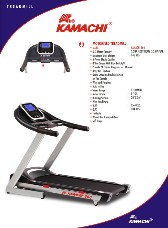 Online kamachi motorized treadmill 666 jogger with 3 5 hp for Treadmill 2 5 hp motor