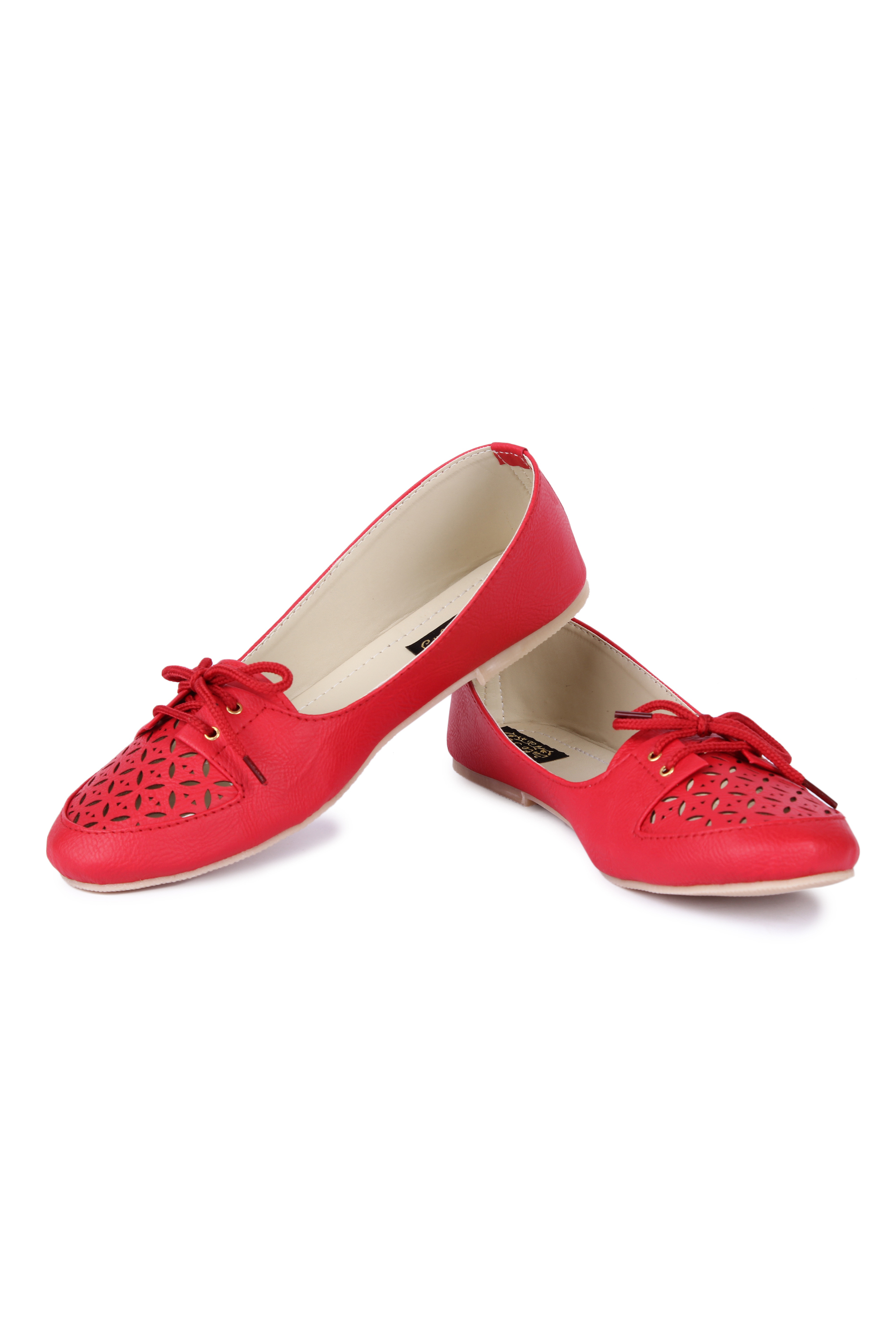 Cute Feet Red Color Cutwork Bellies For Girls