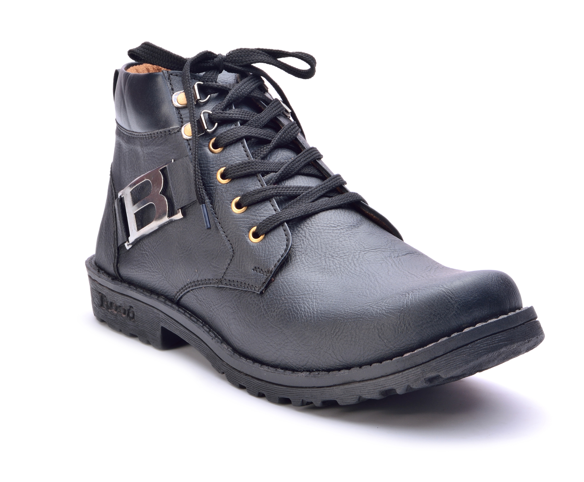 Boysons black B-buckle ankle length shoes(B-boot-blk)