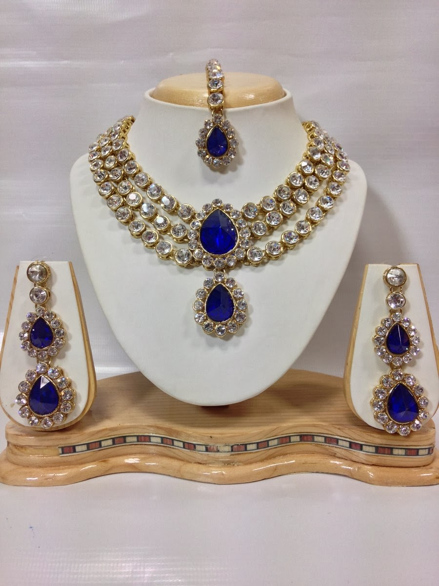 three chain kundan jewelry set in royal blue