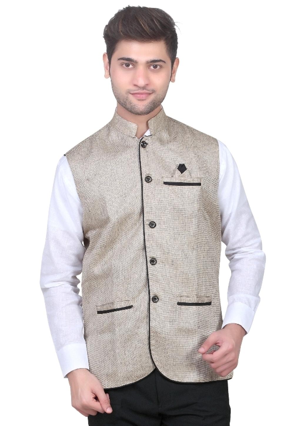 TrustedSnap Nehru Jacket For Mens (khaki)