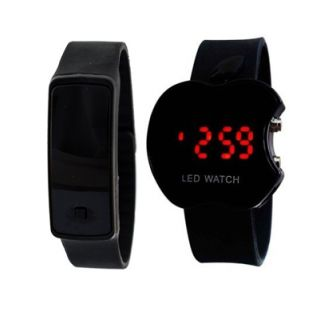 LED watch COMBO for Boys/Girls/Kids by BRANDEDQUEEN (APPLE + BAND BLACK)