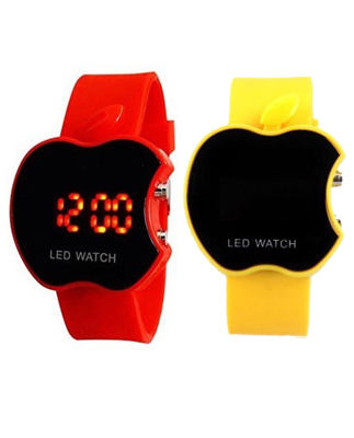 NEW LED WATCH COMBO for kids/boys/Girls-BRANDEDKING( APPLE YELLOW+RED)