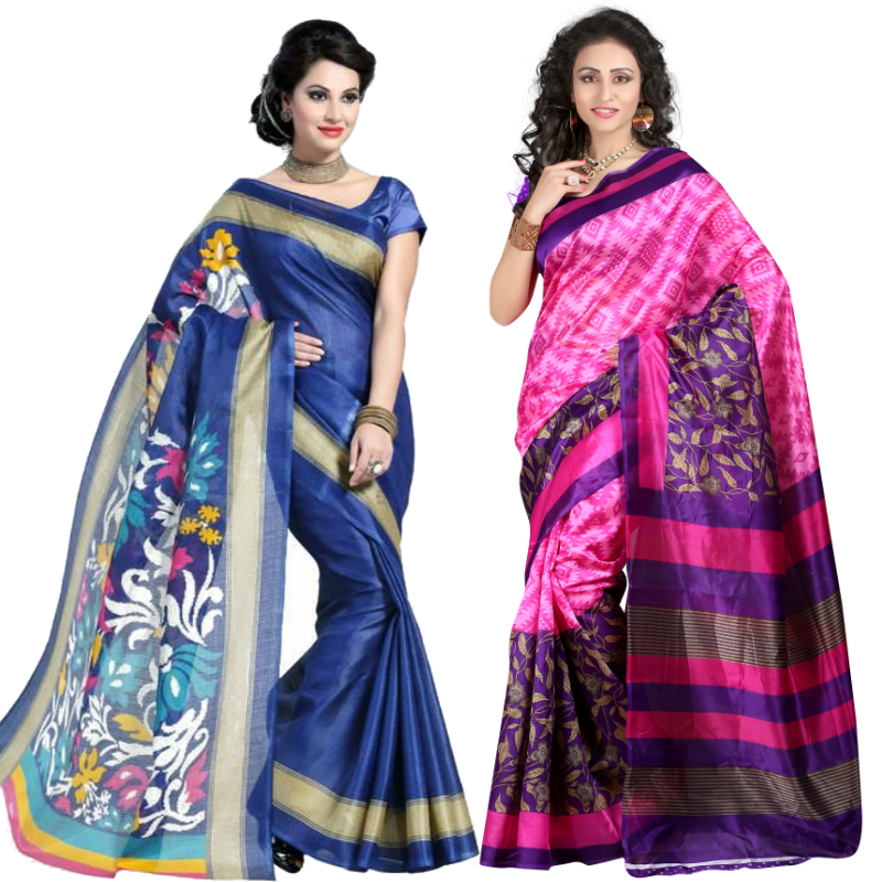 Stylish Trendy Designer Bhagalpuri Silk Sarees pack of 2 with Blouse Pcs.