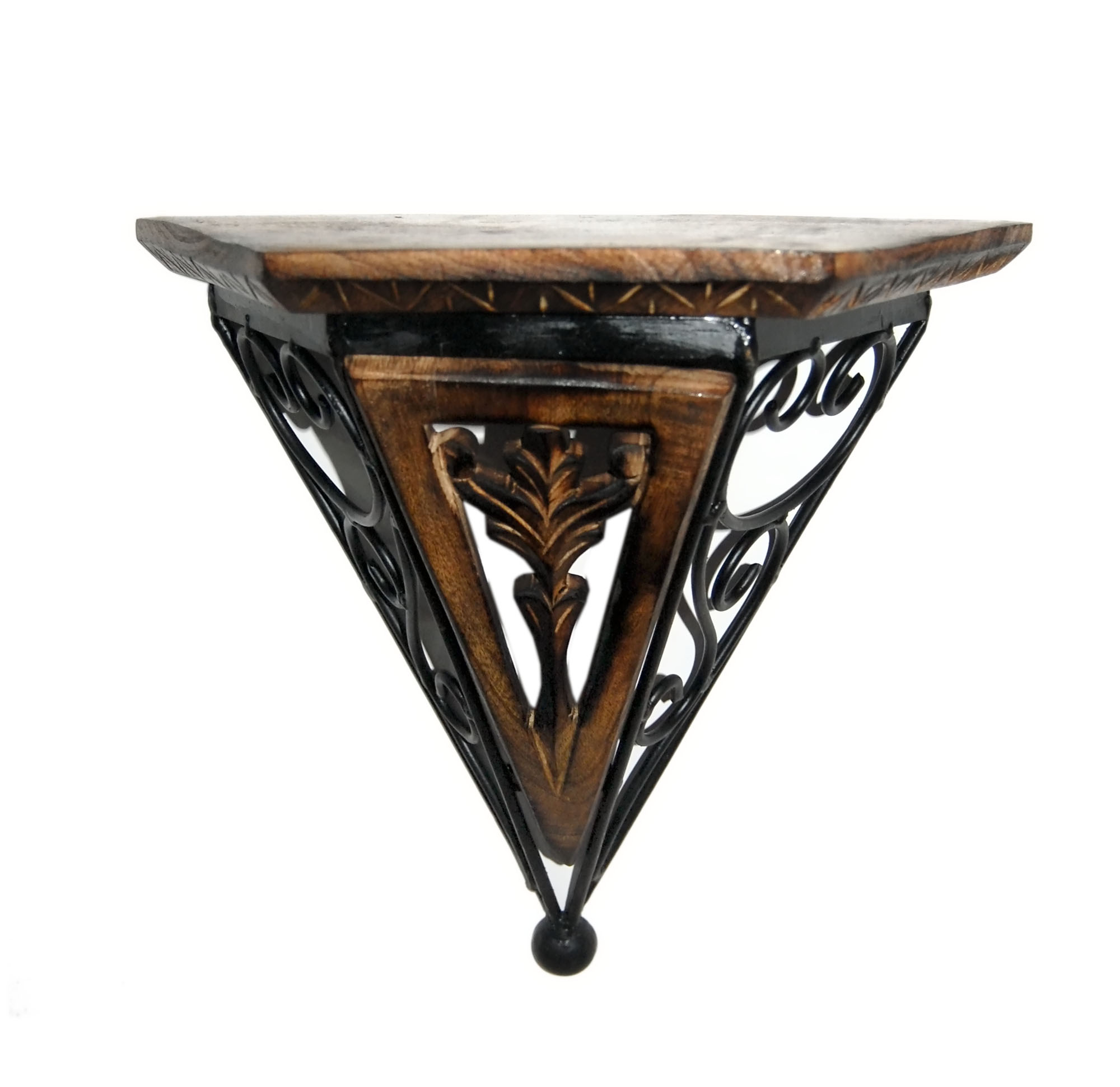 Wonderful image of Buy Wooden Wrought Iron Wall Rack Bracket Shelf Fancy Design Online in  with #64432A color and 2000x1942 pixels