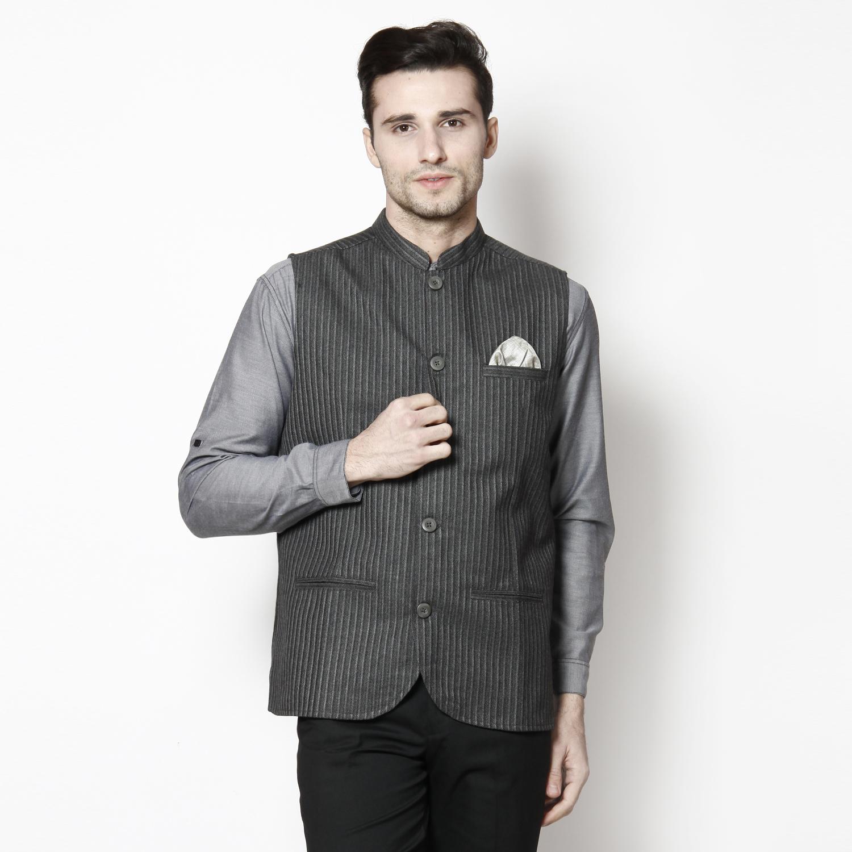 Even Grey Self Design Solid Sleeveless Nehru Jacket