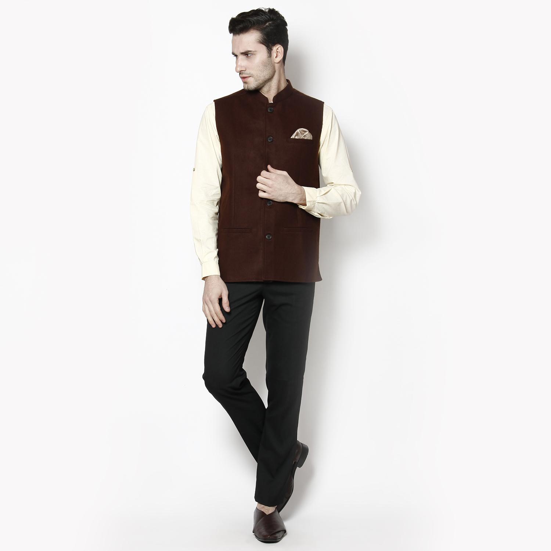 Even Brown Solid Sleeveless Nehru Jacket