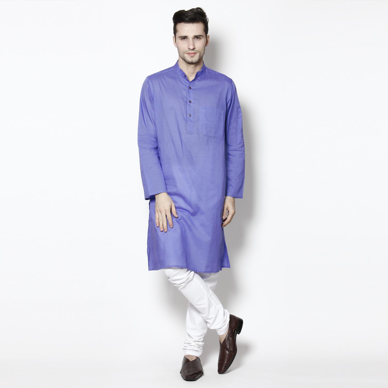 Even Self Design Blue MenS A-Line Kurta (LK MMS9040 BL01)