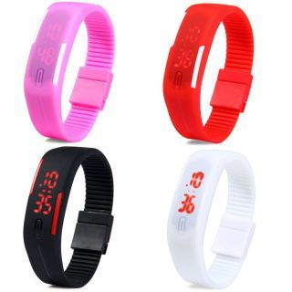Rushtomart Digital LED 4 Watches Combo For Boys,Girls And Kids.