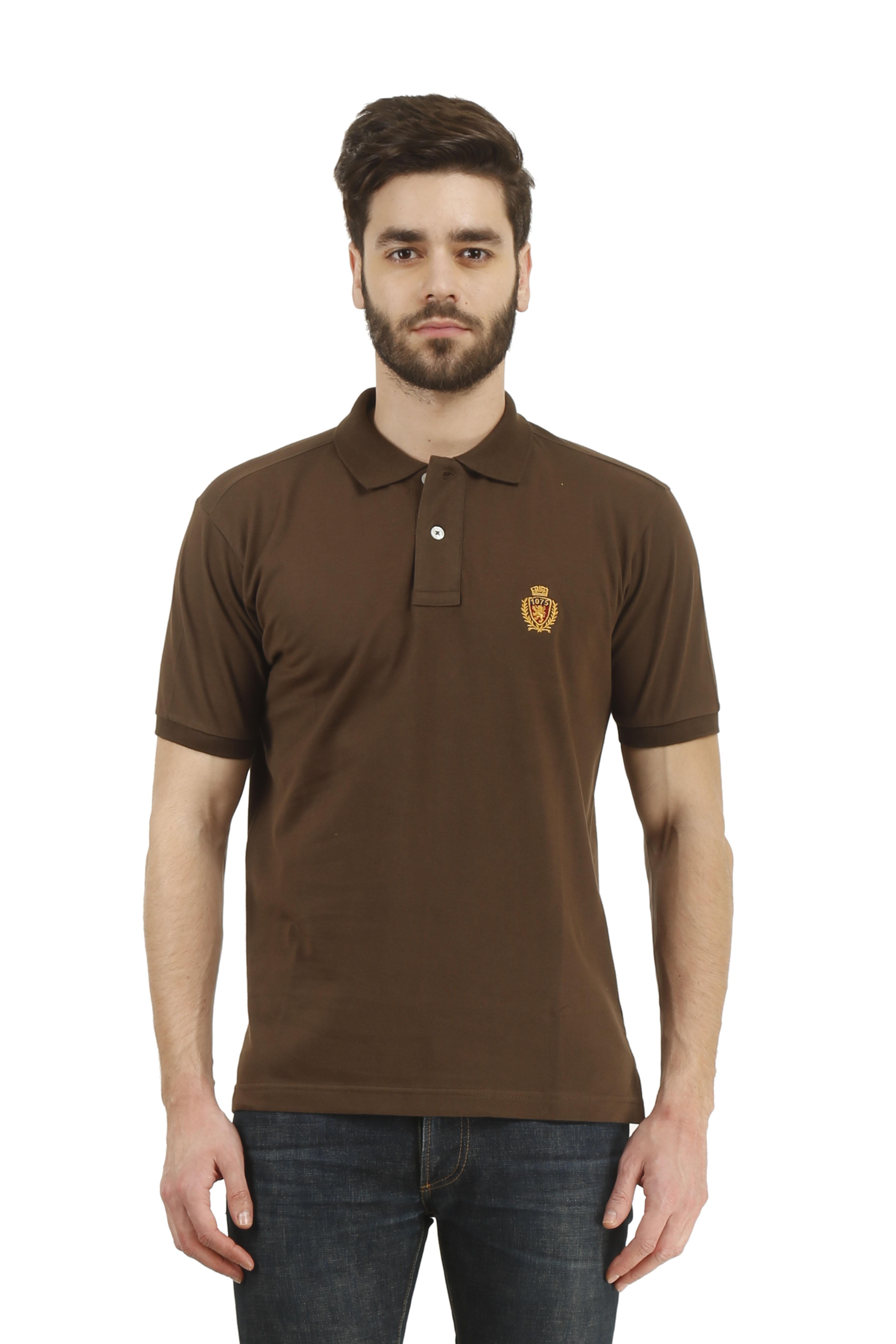 Buy austin wood brown casual half sleeve t shirt for men for Half sleeve t shirts for men