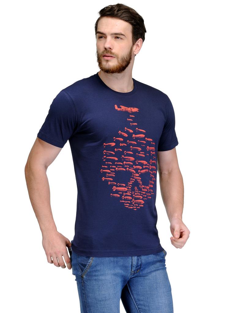 Buy slingshot blue half sleeve t shirt for men online in for Half sleeve t shirts for men