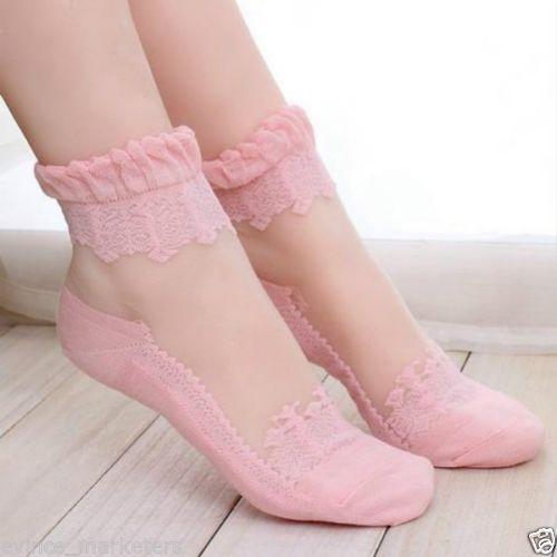 Women Girls Ultra thin Transparent Beautiful Crystal Lace Elastic Socks (Pink)