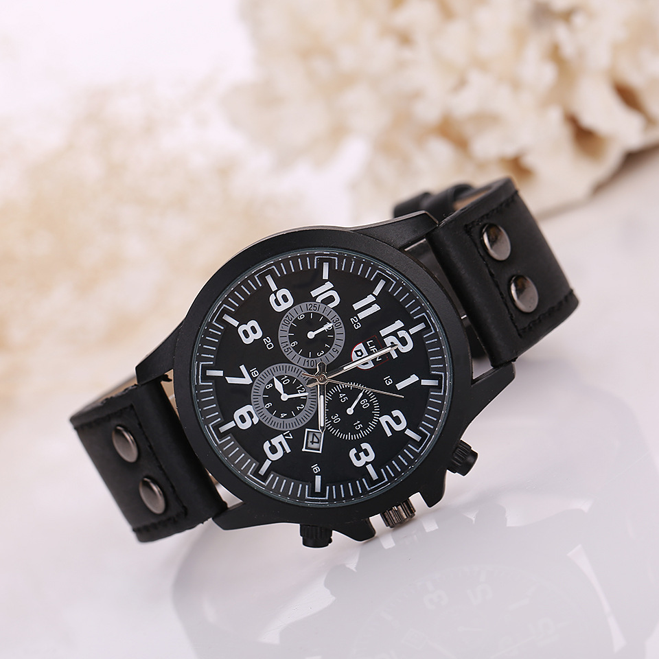 sport quartz mens wrist watches leather watches for