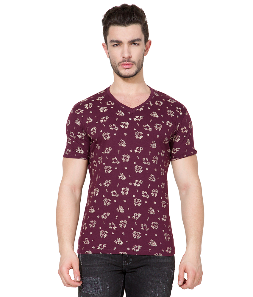 Buy maroon v neck printed mens t shirt by locomotive for Maroon t shirt for men