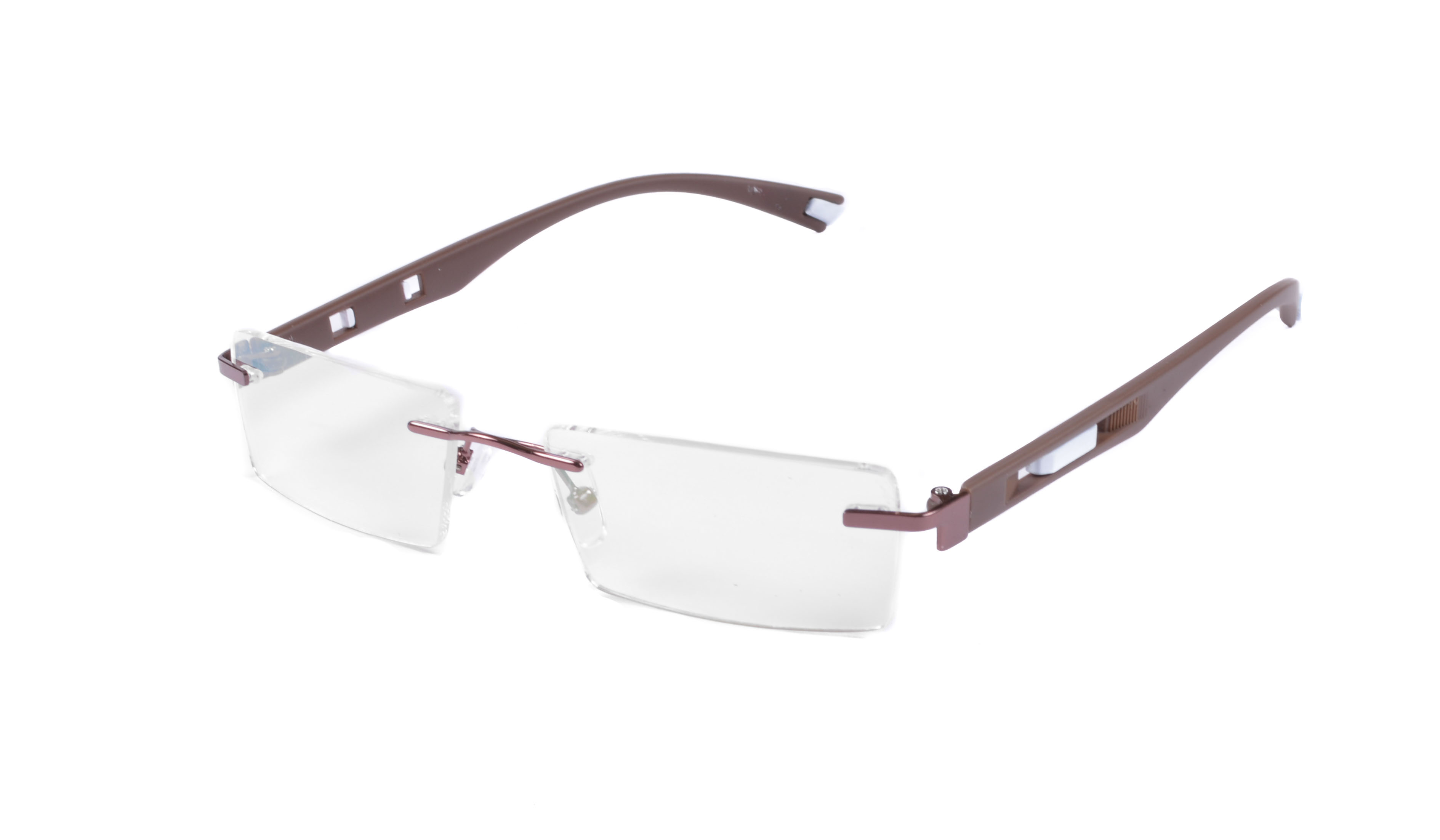 St Brown And White Rimless Frame  For Mens And Womens-Stfrm042