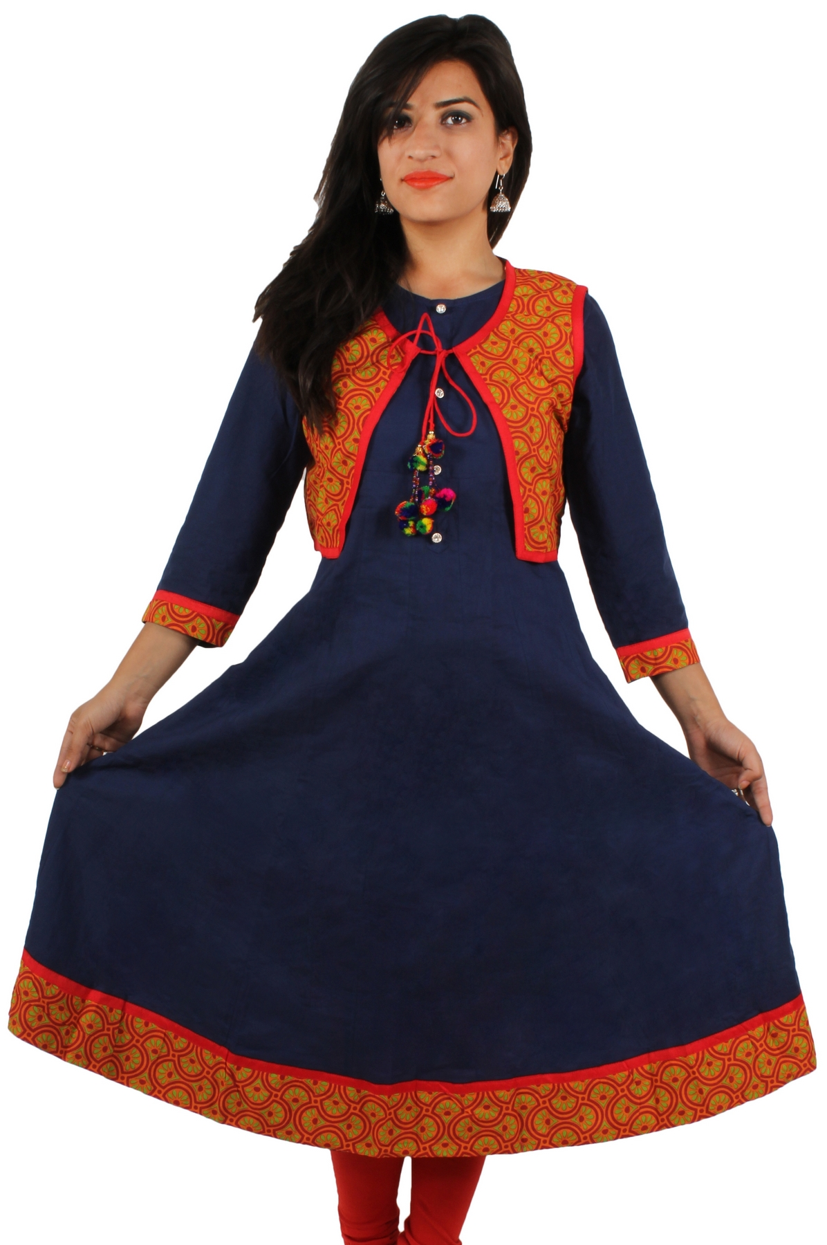 ONLYKurtis Blue Cotton Anarkali Style Kurti With Red Choli ...
