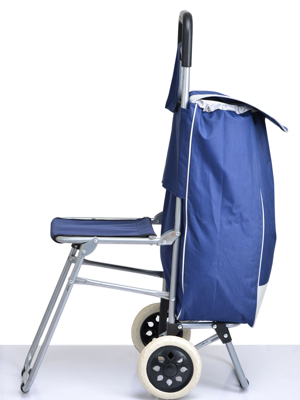 Shopping trolley bag with folding chair available at for Chair shopping