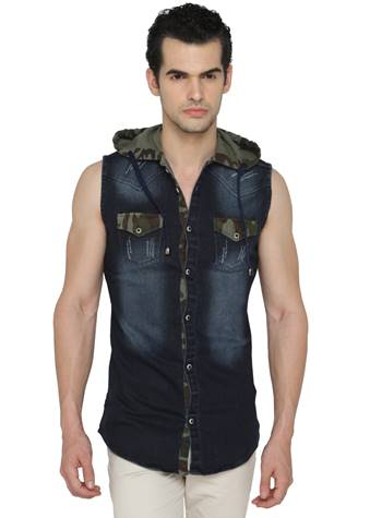 Buy mode de base italie denim sleeveless casual dark blue for Mens sleeveless denim shirt wholesale
