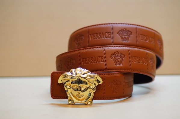 versace medusa embossed leather belt with gold buckle