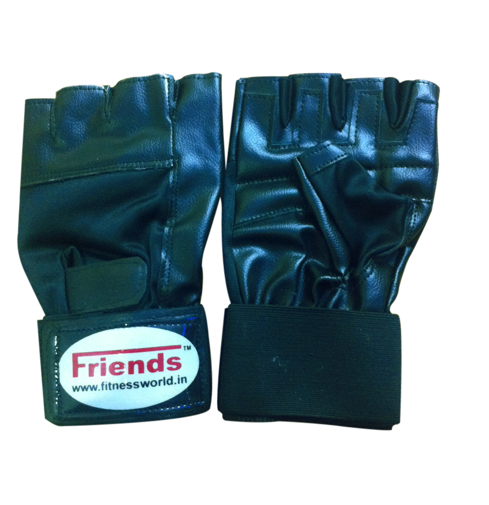 Gym Gloves Weight Lifting Leather Workout Wrist Support: Friends Leather Gym Gloves Along With Wrist Support