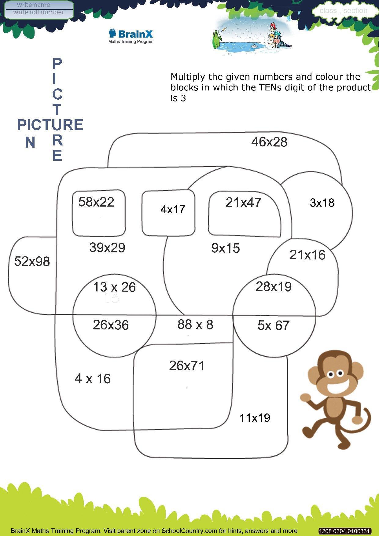 Worksheets For Grade 3 : Brainx grade mini math worksheets for