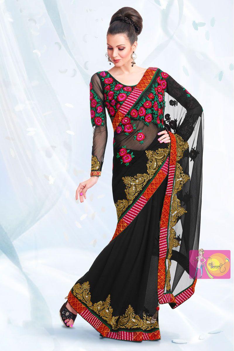 Matwali Stylish black chiffon designer saree and embroidery work blouse
