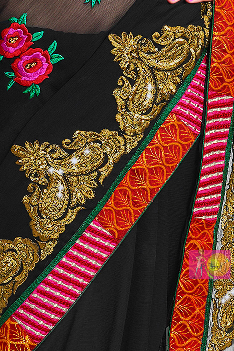 Black chiffon designer saree and embroidery work blouse