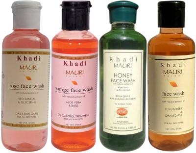 Mauri Ayurvedic Herbal Face Wash Combo Pack Of 4 Rose Honey Orange  Fenugreek (Methi) Natural  Organic 210 Ml Each Fac