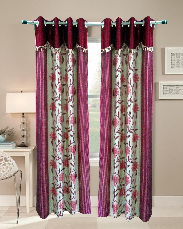 Homefab India's Designer Floral Maroon Door (7X4 Ft