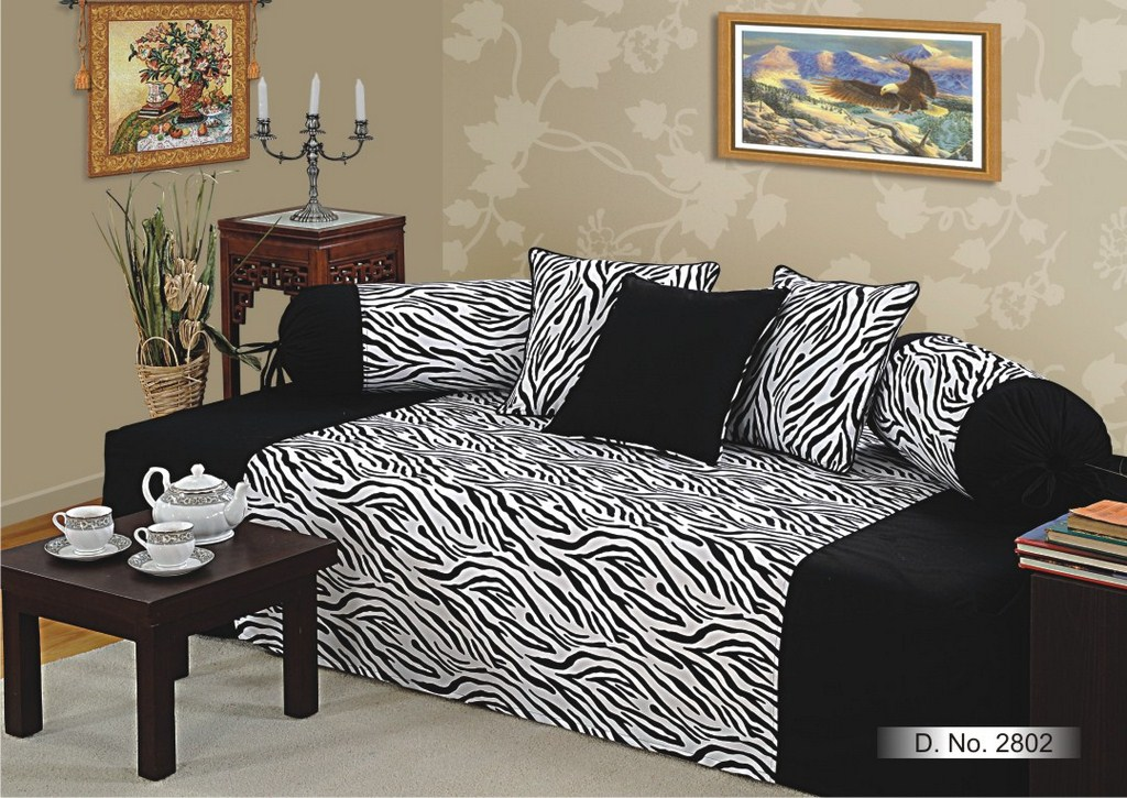 Elements bold tiger print diwan set for Double bed diwan